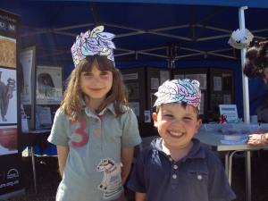 Children taking part in craft activities at the Salisbury Museum stall at the Chalke Valley History Festival.